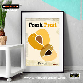 'PEACH FRESH FRUIT' mid century Scandinavian kitchen retro Nordic illustration by designer Hedvig Desh gallery art print - 'Unframed'
