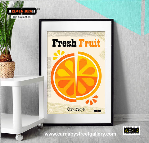 'FRESH FRUIT' Mandarin orange citrus fruit segments Hedvig Desh collection retro mid century Scandinavian kitchen Nordic illustration gallery art print - 'Unframed'