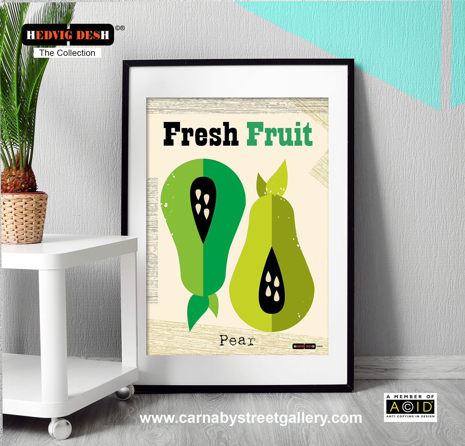 Green Pear fruit retro mid century Scandinavian kitchen by Hedvig Desh - 'Unframed'