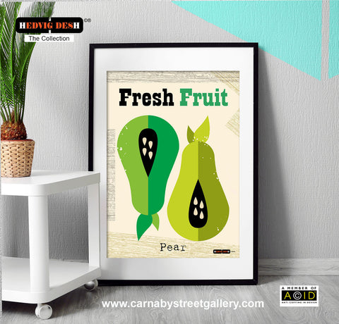 'FRESH FRUIT' Pear green fruit Hedvig Desh collection retro mid century Scandinavian kitchen Nordic illustration gallery art print - 'Unframed'