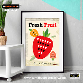 'FRESH FRUIT' Strawberry red fruit Hedvig Desh collection retro mid century Scandinavian kitchen Nordic illustration gallery art print - 'Unframed'