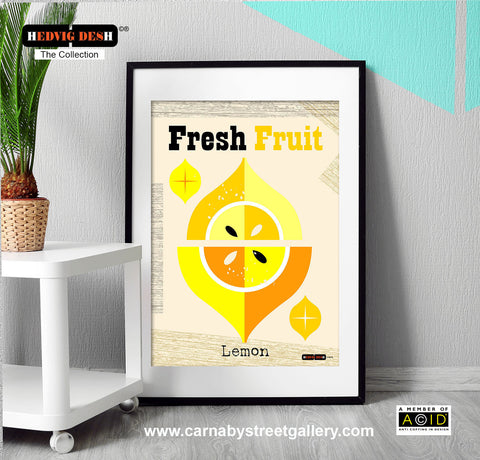 'MEDITERRANEAN LEMON' Fresh Fruit Hedvig Desh collection retro citrus mid century yellow Scandinavian kitchen Nordic illustration gallery art print - 'Unframed'