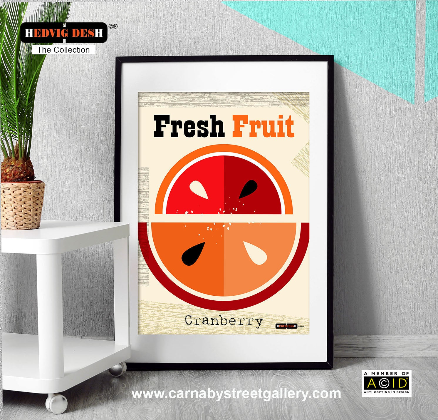 Cranberry Fruit mid century Scandinavian retro kitchen art print - 'Unframed'