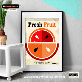 'CRANBERRY FRESH FRUIT' mid century Scandinavian kitchen retro Nordic red illustration by designer Hedvig Desh gallery art print - 'Unframed'