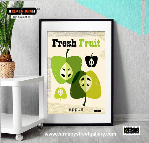 'GREEN APPLE FRESH FRUIT' Hedvig Desh collection retro mid century fall Scandinavian kitchen apple tree Nordic illustration gallery art print - 'Unframed'