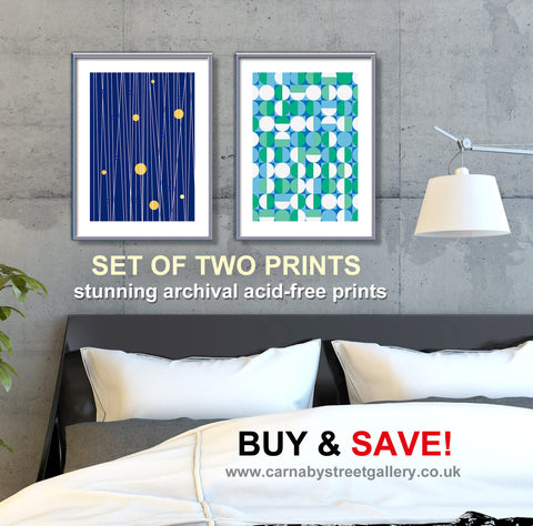 Cool Blue Geometric Print Set - Double print BUY AND SAVE mid century designs - 'Unframed'