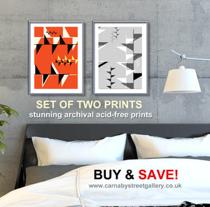 Festival of Britain Print Set - Double print BUY AND SAVE Retro geometric Art - 'Unframed' by carnabystreetgallery.com