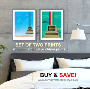 TWO COMPUTER PRINTS - FOR ONE GREAT PRICE! - retro computing decor - 'Unframed'  inspired by vintage Labybird book illustration and based on the famous PET computer by carnabystretgallery.com