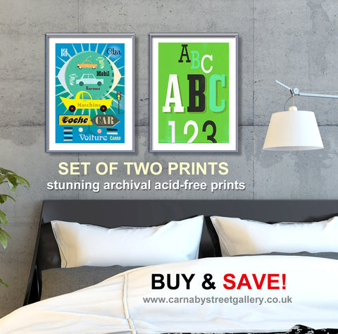 SET OF TWO PRINTS - Double print BUY AND SAVE vintage travel and numbers/letters wall decor - 'Unframed'