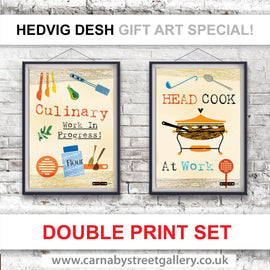 CHEF'S MANTRA Scandinavian cook's memes HEDVIG DESH retro fondue partying gift ideas cookery meme cookbook food poster print illustration - 'Unframed'