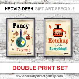 RETRO KITCHEN PRINT 'SAVE OVER 20%' double print deal - beautiful Scandinavian cook's memes HEDVIG DESH retro light hearted gift ideas cookery meme cookbook olive oil ketchup food poster illustration - 'Unframed'