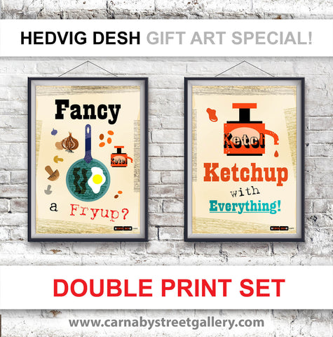 RETRO KITCHEN PRINT double print deal - beautiful Scandinavian cook's memes HEDVIG DESH retro light hearted gift ideas cookery meme cookbook fry up fried breakfast fried food ketchup red tomato sauce food poster illustration - 'Unframed'