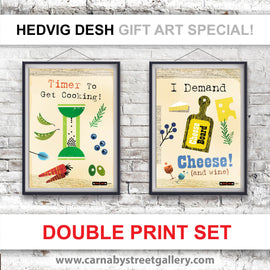 'SAVE OVER 20%' double print deal - beautiful Scandinavian kitchen cook's memes HEDVIG DESH retro timer cheese wine gift ideas cookery meme cookbook food poster print illustration - 'Unframed'