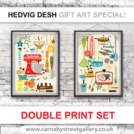 KITCHEN PRINT SET BY HEDVIG DESH stunning Scandinavian retro mid century cook chef retro gift ideas cookery cookbook food poster print illustration - 'Unframed'