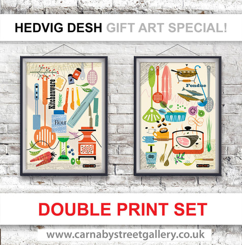 DOUBLE KITCHEN PRINT DEALS! -  DESIGNER HEDVIG DESH beautiful Scandinavian retro mid century cook chef retro gift ideas cookery cookbook food poster print illustration - 'Unframed'