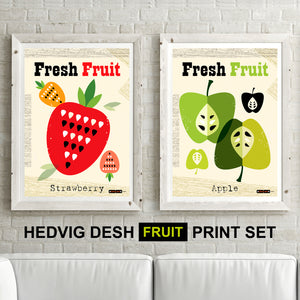 'DOUBLE PRINT OFFER' - DESIGNER HEDVIG DESH mid century Scandinavian FRUIT PRINTS kitchen Nordic illustration gallery art - 'Unframed'