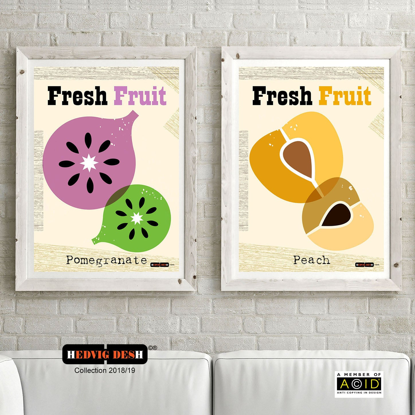 POMEGRANATE & PEACH HEDVIG DESH mid century Scandinavian fruit prints kitchen Nordic illustration gallery art - 'Unframed'