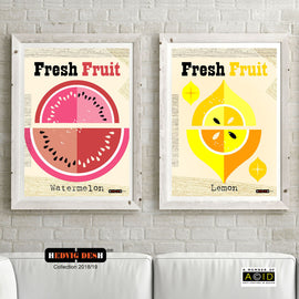 WATERMELON & LEMON HEDVIG DESH mid century Scandinavian FRUIT PRINTS kitchen Nordic illustration gallery art - 'Unframed'