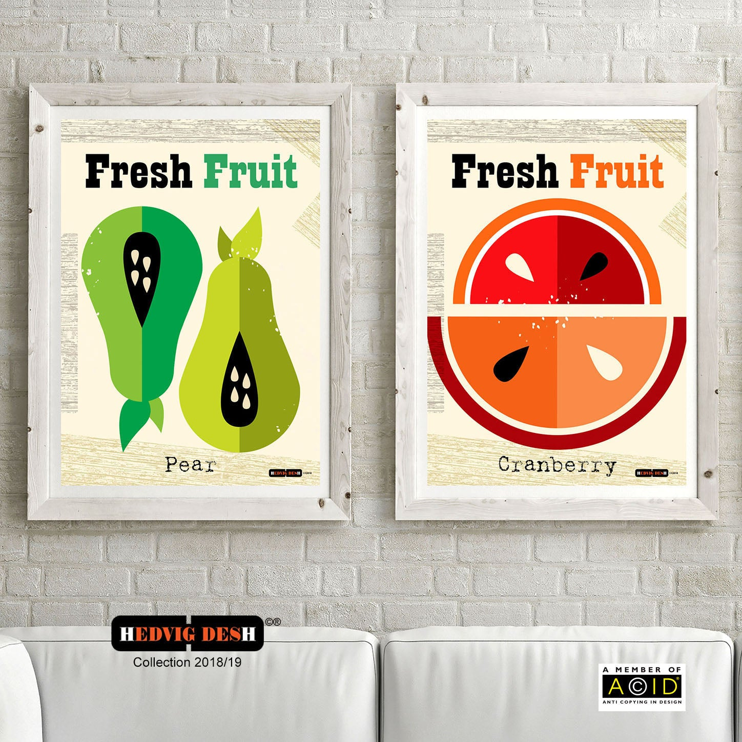 FRESH FRUIT HEDVIG DESH mid century Scandinavian kitchen pear cranberry berry Nordic illustration gallery art prints - 'Unframed'