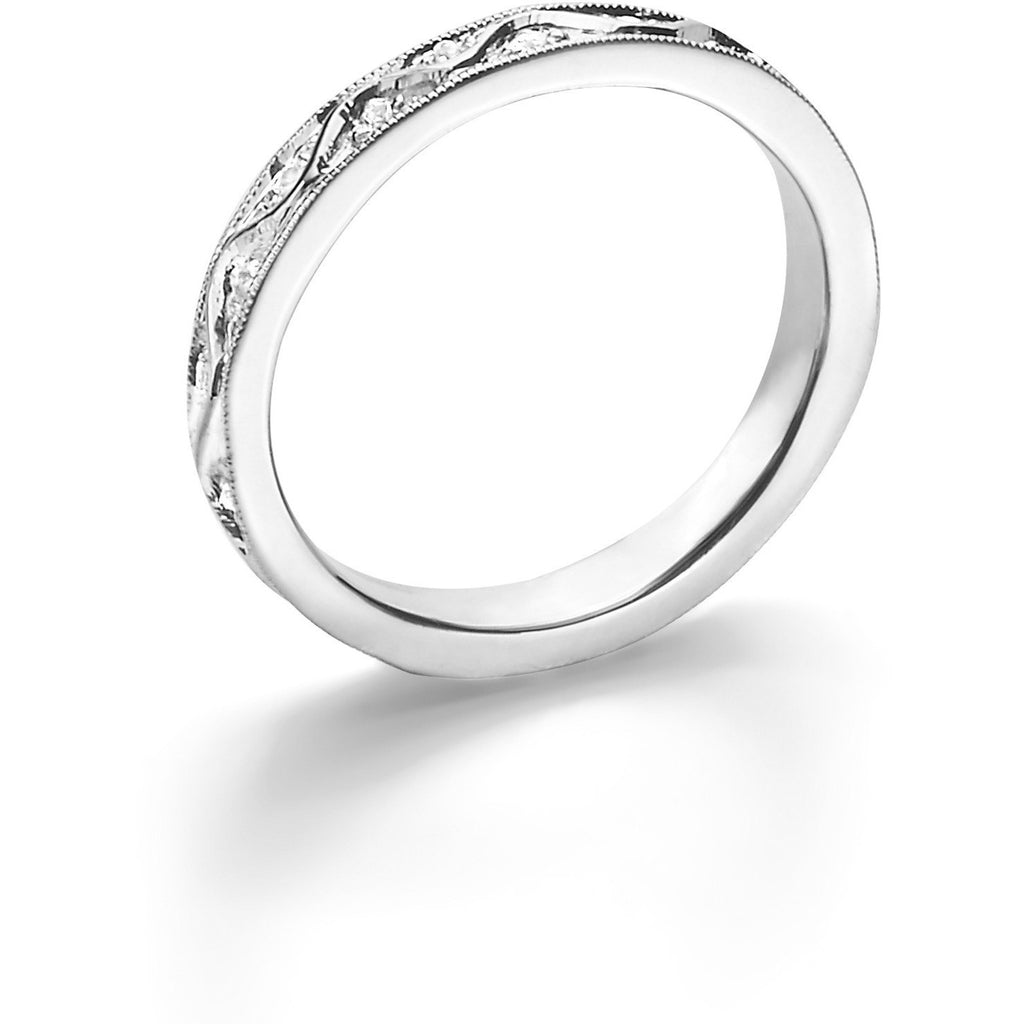 Ine design stone 187 other products -  18k White Gold Renaissance Band Ring With Diamonds