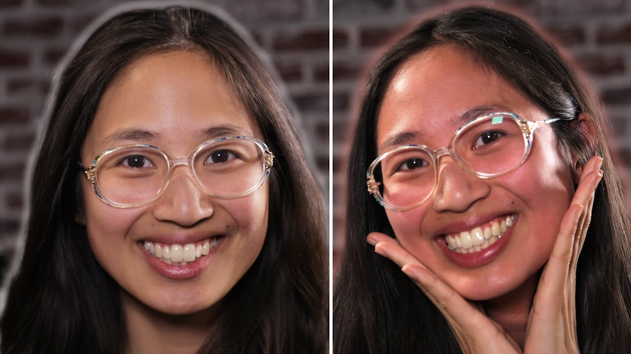Woman before and after drinking asian glow