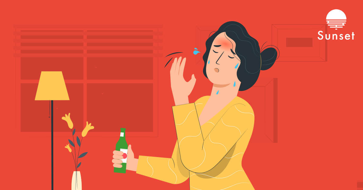 Person feeling hot after drinking alcohol