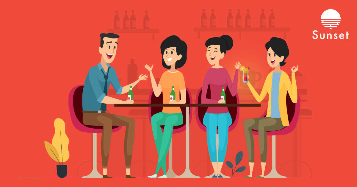 woman enjoying low alcohol drink with friends