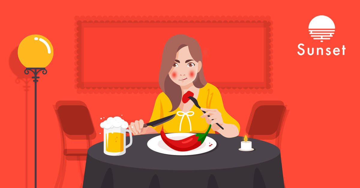 person flushing red and eating spicy food