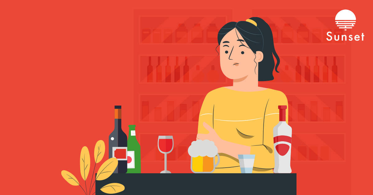 Girl with allergy looking nervous to drink beer, wine or vodka