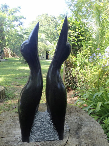 two birds made out of 1 stone, sculpture, shona art, Zimbabwe, Wereldbeeld Belgium