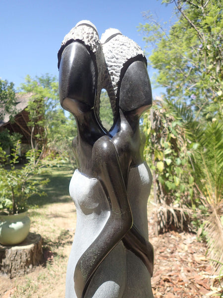 sisters, stone sculpture, contemporary art, shona art Zimbabwe