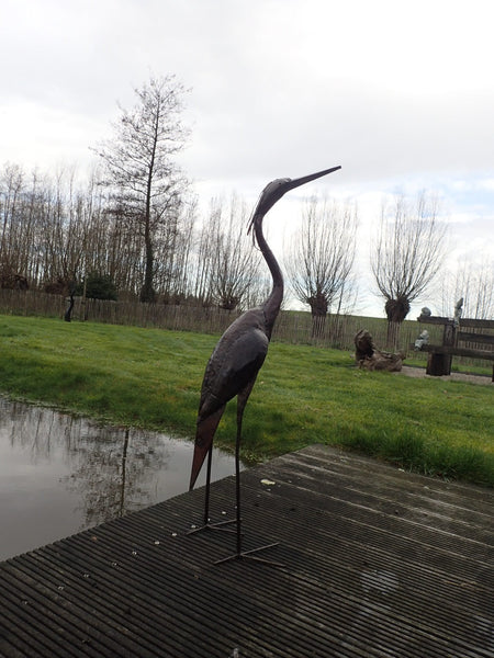 metal heron garden sculpture