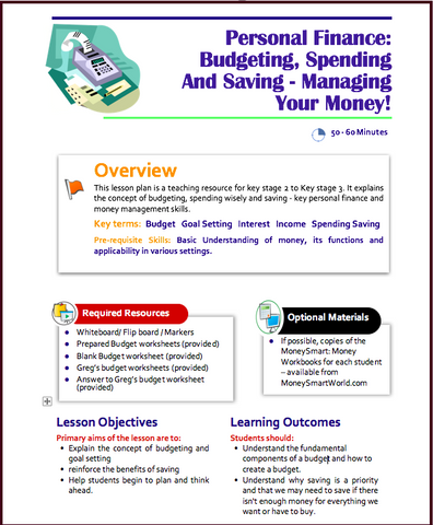 Free Budgeting Lesson Plan for KS2 to KS3 (ages 8 to 12 ...