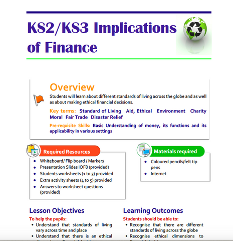 KS2-KS3 Implications of Finance Lesson Plan
