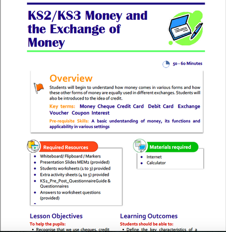 KS2-KS3 Money & the Exchange of Money Lesson Plan