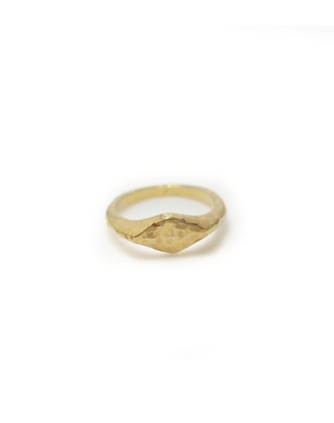 TEXTURED SIGNET RING // GOLD