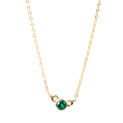 FEAST MOON EMERALD NECKLACE // GOLD FILLED + EMERALD