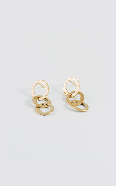 OVAL CHAIN EARRINGS // GOLD