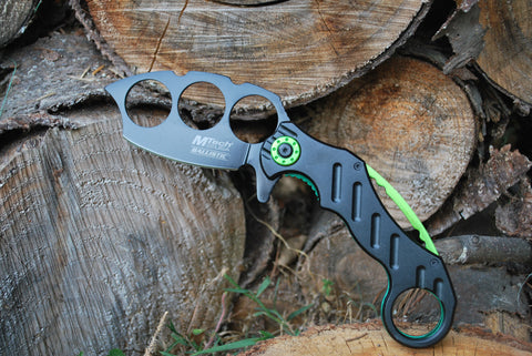 Karambit Spring Assisted Folding Knife - Green Black