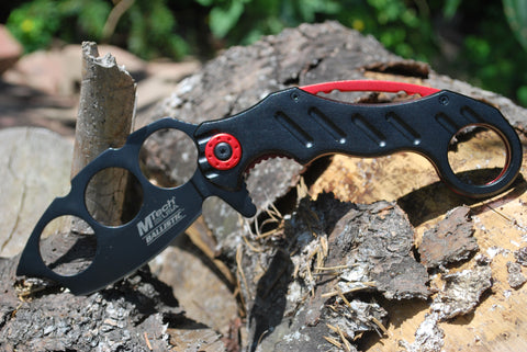 Karambit Spring Assisted Folding Knife - Red Black