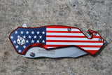 American Flag Spring Assisted Knife - Serrated Blade
