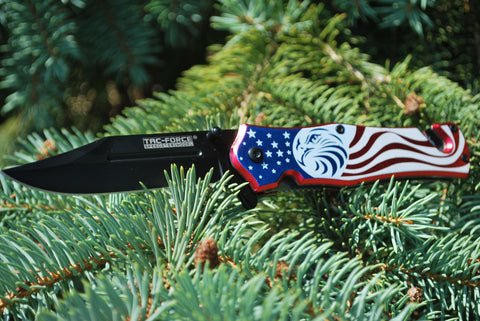 American Flag Eagle Spring Assisted Knife