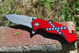 Rebel Flag Serrated Blade - Spring Assisted