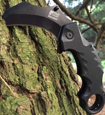 Black Night Ballistic Karambit Spring Assisted Knife