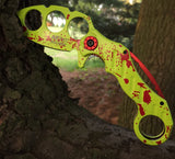 Zombie Spring Assisted Karambit - Splatter Green
