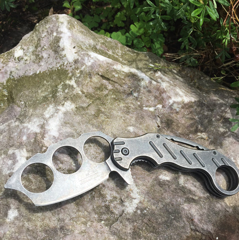 Karambit Spring Assisted Folding Knife - Stone Wash