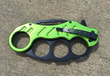Karambit Spring Assisted Folding Knife - Green