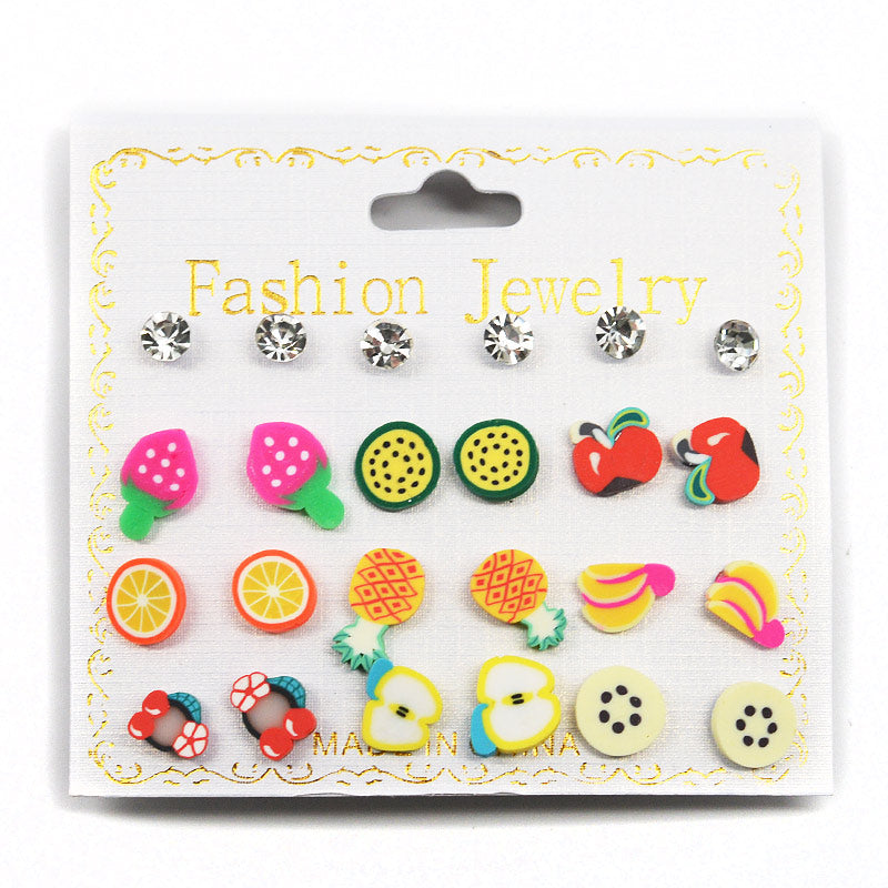 Rhinestones and Fruit 12-Pair Stud Earring Set (2571)