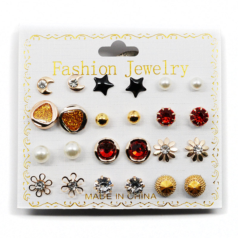 12-Pair Stud Earring Set Faux Ruby (2501)