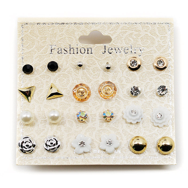 12-Pair Stud Earring Set Silver Roses (2572)